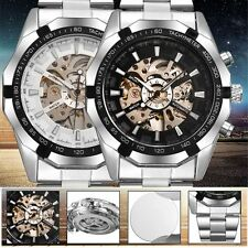 Luxury Skeleton Stainless Steel Men Wrist Watch Mechanical Dial Automatic