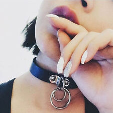 New Sexy Punk Rock Handmade Gothic Double O Ring Leather Choker Collar Necklace