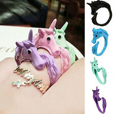 1x Women Alluring Candy Color Unicorn Finger Ring Enamel Horse Jewelry Ring
