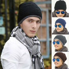 Mens Boy Warm Outdoor Winter Thermal Hat Fleece Lined Ski Knitted Cap Beanie Hat