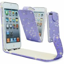 Flower Glitter Jewelled Diamond PU Leather Flip Case Cover for Apple iPOD iTouch