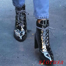 Punk Women Lady High Block Heel Patent Leather Ankle Boots Patent Leather Boots