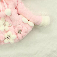 Baby Kids Girls Winter Flowers Faux Fur Cotton Thick Coat Outerwear Jacket O4