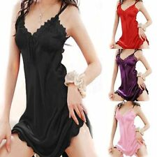 Pop Clothing Chemise Sexy Sleepwear Dress Satin Silk Nightgown Lace Robe