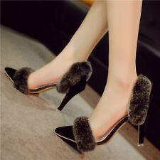 Sexy Women Stiletto Heels Pointy Toe Furry Trim Pump Shoes Hollow Dress Party