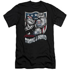 Popeye Strong & Proud Mens Slim Fit Shirt BLACK