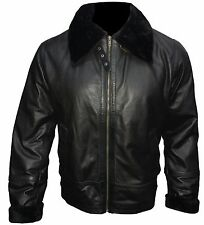 Mens Original Cow Hide Leather B3 Pilot WW2 US Army Bomber Jacket in 3 colours