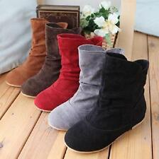 Womens Cute Faux Suede Slouch Flat Ankle Boots Boots Shoes Sweet Shiny Size Hot