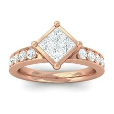 0.65ct IJ SI Womens Princess Diamond Solitaire Engagement Ring 10K Gold