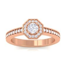 0.46ct IJ SI Halo Diamond SideStone Engagement Ring Women Solid 10K Gold