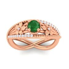 Green Emerald IJ SI Diamonds Flower Gemstone Engagement Ring 10K Gold