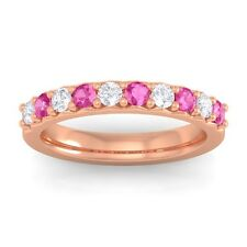 Pink Sapphire IJ SI Round Diamonds Classic Half Eternity Band 10K Gold