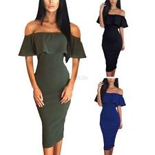 Sexy Women's Off Shoulder Bodycon Ruffled Evening Party Cocktail Pencil Dress
