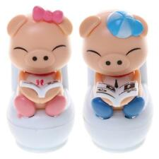 Cute Solar Powered Dancing Pig Sitting On Toilet Home Car Decor Kids Toy Gift