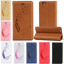 Feather Pattern Flip Stand PU Leather Card Wallet Case Cover  For iPhone Samsung