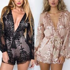 Sexy Women Deep V-neck Romper Lace Bodycon Playsuit Jumpsuit Party Clubwear S-XL