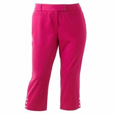 NEW Womens Plus 18W 20W 22W Sag Harbor Solid Crop Capri Capris Pants Fuchsia NEW
