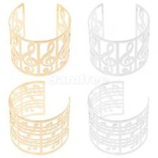 Ladies Partywear Musical Notes Theme Open Wide Bangle Cuff Bracelet Jewelry