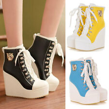 New Womens Lace Up High-TOP Sneakers Shoes/Candy Colors Ladys Ankle Wedge Boots