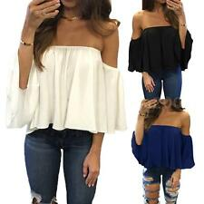 Women Sexy Off The Shoulder Casual Loose Short Sleeve T-Shirt Tops Blouse G2D6