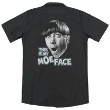 Three Stooges Moe Face (Back Print) Mens Work Shirt BLACK