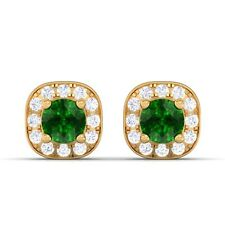 Green Emerald FG SI Diamond Gemstone Halo Stud Earrings Women 18K Gold