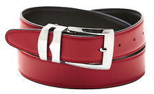 Reversible Belt Bonded Leather Removable Silver-Tone Buckle APPLE RED / Black
