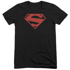 Superman 52 Red Block Mens Tri-Blend Short Sleeve Shirt BLACK