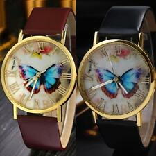 Fashion Numerals Wrist Watch Faux Leather Band Butterfly Dial Quartz Analog