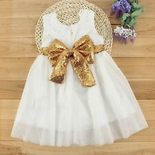 Flower Girl Princess Dress Kid Baby Party Wedding Pageant Sequin Dresses Clothes