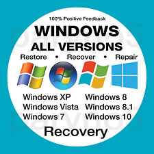 ALL IN ONE Windows Recovery Disc XP Vista 7 8 8.1 10 - Install Reinstall Restore