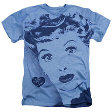 I Love Lucy Lucy Mens Heather Poly Cotton Shirt Light Blue