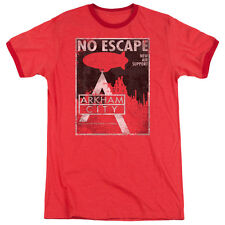 Arkham City Batman No Escape Mens Adult Heather Ringer Shirt Red