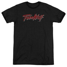 Teen Wolf Scrawl Logo Mens Adult Heather Ringer Shirt Black