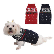Pet Dog Sweater Clothes Snowflake Puppy Warm Jumper Knit Coat Hoody Outwear