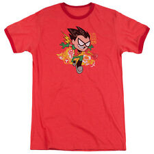 Teen Titans Go Robin Mens Adult Heather Ringer Shirt Red