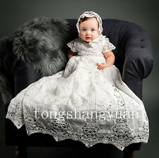 Baby Robe Hollow Baptism Dresses Kids Infants Christening Gowns New With Bonnet