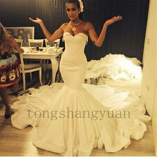 Mermaid Wedding Dresses Satin Ivory Strapless Bridal Gowns Custom Size 4 6 8 10+