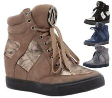 WOMENS LADIES HIGH HEEL LACE WEDGE HI HIGH TOP TRAINER ANKLE BOOTS BOOTIES SIZE