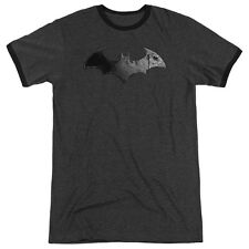 Arkham City Batman Bat Logo Mens Adult Heather Ringer Shirt Charcoal