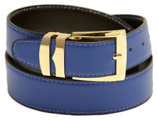 Reversible Belt Wide ROYAL BLUE / Black with White Stitching Gold-Tone Buckle