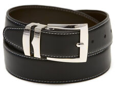 Reversible Belt Wide BLACK / Brown with White Stitching Silver-Tone Buckle