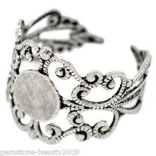 Wholesale HOT! Silver Tone Adjustable Filigree Ring Settings US 8