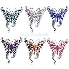 Fashion Women Vintage Jewellery Costume Brooch Crystal Rhinestone Butterfly Pin