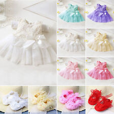Toddler Baby Girls Party Princess Lace Tutu Bowknot Mini Dress Infant Grib Shoes