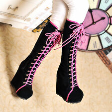 Sexy Women Knee High Boots Platform Wedge Heel Lace Up Hidden Heel Winter Shoes
