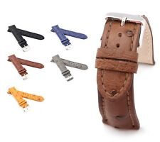 "BOB Genuine Ostrich Watch Band, Model ""Basic"", 18-24 mm, 4 colors, new!"
