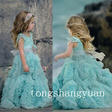 Ruffle Flower Girl Dresses Bow-Knot Birthday Formal Prom Ball Gowns Pageant 2017