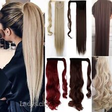 Real Thick ponytail clip in long pony tail hair extensions tie up wrap On k43
