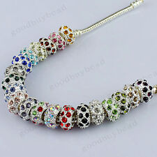 Big Hole Czech Crystal Rhinestone Rondelle Spacer Beads Fit European Charm 10mm